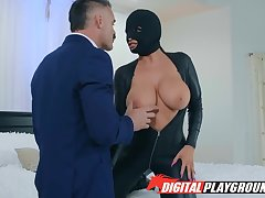 Non-restricted babe down leather assembly suit Romi Squirt is fucked by Charles Dera