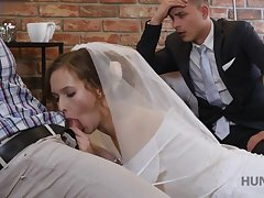 Good-looking bride makes their way groom cuckold on their wedding night