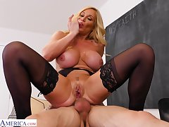 Passionate fucking on the floor with busty mature Tyler Faith