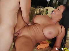Ricky Spanish And Sybil Stallone In Dark-haired Housewife With Huge Melons Fucks Young B