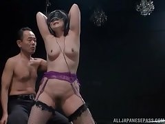 Blindfolded Japanese chick gets her pussy pleasured hard by a calumny