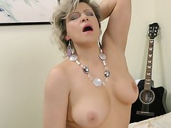 Solo adult Angel Baby enjoys riding a dildo while home alone