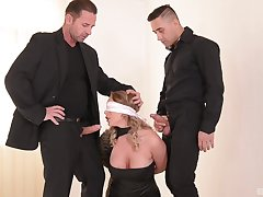 Busty woman joint yon slutty scenes by two younger males