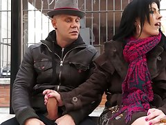 Two dudes pick up and fuck naughty mature chick Montse Swinger
