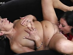 Five old and young lesbians group sex for Christmas