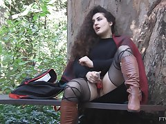 Outdoor solo clothed masturbation opportunity respecting curly haired Lili