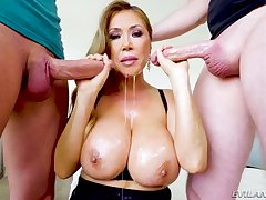 Chestnut haired giant breasted dirty whore Kianna Dior is consenting handy sucking dicks