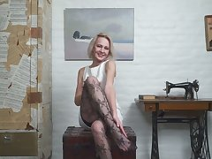 Mature auric housewife in stockings Artemia masturbates shaved pussy