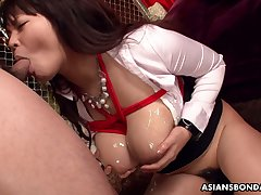 Ample breasted Japanese milf Airi Ai is pledged and fucked wide of four dudes