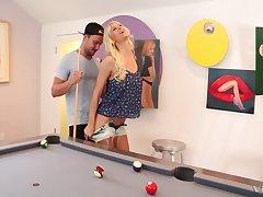 Tattooed mature slut Brooke Banner gets fucked taste over a pool table