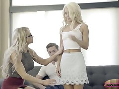 Senior stepmom Alix Lynx fucks her stepson together with his young wife Elsa Jean
