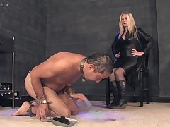Hot MILF relating to leather black suit CFNM porn video