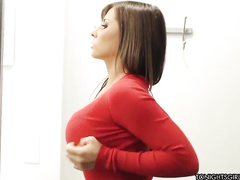 Lady in red spreading her legs for money