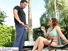 Marvelous bosomy beauty Ella Knox desires surrounding ride fat prick on top