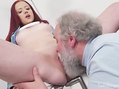 Young Tiffani Adulate gets fucked by a senior guy and she loves it