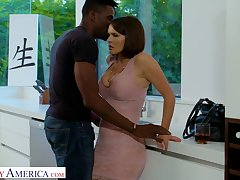 Bodacious busty white chick Krissy Lynn goes black for the first ripen