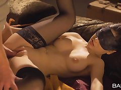Blindfolded and bound skirt with a perfect body gets fucked