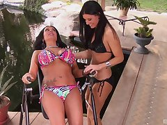 India Summer gets her wet pussy filled with girl's fingers and dildo