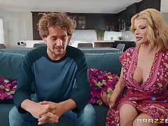 Big bosom milf Joslyn James is home alone so she decides to fuck badly