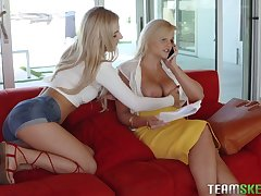 Sexy teen Bella Rose is obsessed to her stepmom's juicy tits and pussy