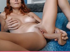 My dirty smelly red-haired sister-in-law puts a dildo in her wet cunt
