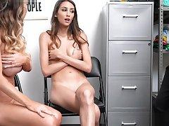 Security slams Mackenzies penurious pussy like a spreadeagle while Natalia watches them