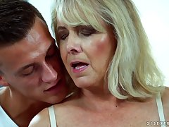 Downcast granny Jana Nelle has an affair with young dude living nextdoor