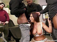 Cuckold is adhering whore fit together Syren Demer getting fucked by louring guys