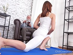 Pretty chick Mina gets fucked by her stepdad after a pleasurable yoga prizefight