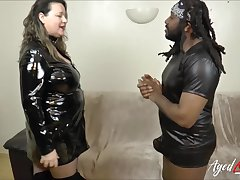 Busty mature got good taste of hard black cock with her red embouchure and got fucked hard
