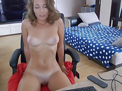 busty girl next entry-way with heavy naturals on webcam solo