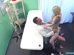 Hot blonde shows the horny doctor proper XXX moments