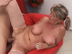 Russian Grandma Alena Seduced Grandson Wide Fuck