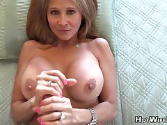 Mature auriferous housewife with phat milk globes is frolicking with the brush paramour's rock rigid manstick