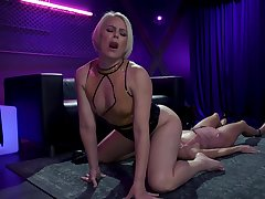 Hardcore ginger beer BDSM pic featuring blond mistress and Asian submissive Christy Love