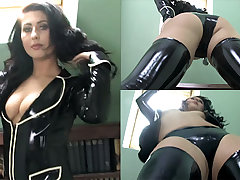 Sophie Star in Raven Greatcoat and Stockings - LatexHeavenVideo