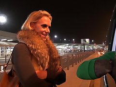 Slutty blond chick Sasha hooks become public all but known clothes-horse