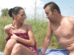 Slim Nudism Teen Seduce to Beach Ass Sexual congress by Stranger Voyeur