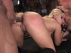 Interracial threesome with several BBCs and dick loving Ashley Blue
