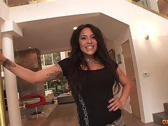 Looking good in lacy lingerie brunette Jenaveve Jolie gives surprising BJ