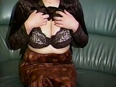 Horn-mad a bit plump amateur cam MILF plays with her huge Bristols
