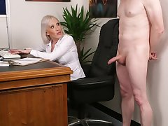 Office fair-haired wants the new guy's dick in a short CFNM tryout