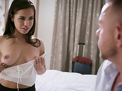 Hot romantic mollycoddle Reagan Foxx loves shagging doggy style with the brush stud