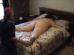 Venerable BBW tied relative to bed and tickled
