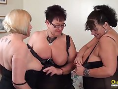 Broad in the beam natural tits of mature women in threesome lesbian edict including pussy masturbation