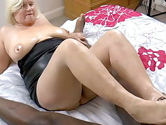 GRANNYLOVESBLACK - Grandma Strokes Lubed Cock With Arms