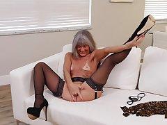 Small tits mature Leilani Lei back stockings and high heels having fun