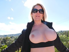 Of age flashes rub-down the big tits while toying her sopping cunt like a whore