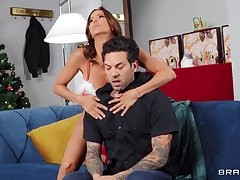 Aroused MILF with big tits, energized Christmas special with a younger lover