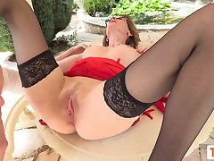 French Light-Haired COUGAR Ravaged Rigid in the brush older gash outdoor